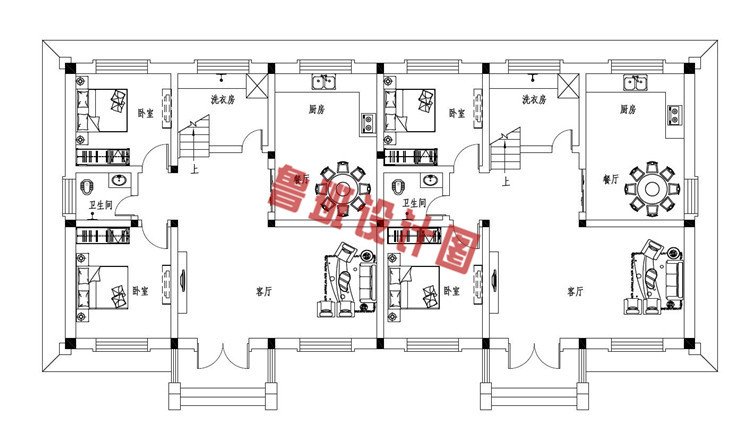 35万左右双拼二层自建别墅设计一层户型图