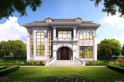 新型实用农村一层半别墅带阁楼设计图,外观靓丽