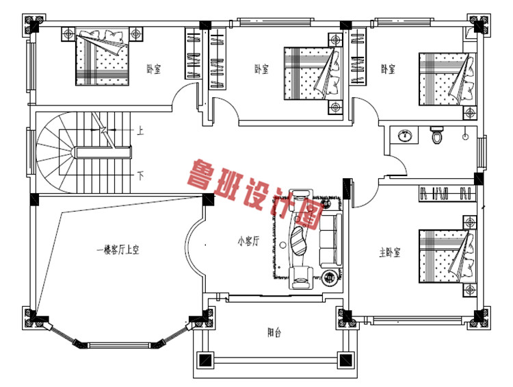 35万左右精致复式二层自建别墅设计二层户型图