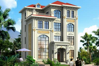 120平方米简欧四层自建房别墅设计图,别墅外观图片精致12*10米