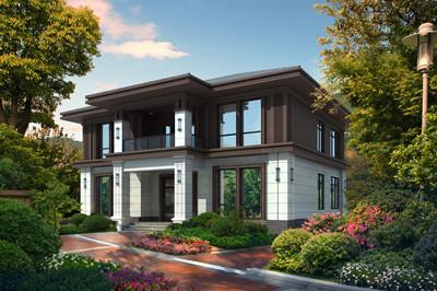 农村小二层别墅设计效果图片,设计简约大气,开间14-15米