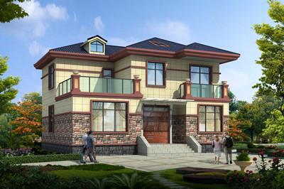 占地130平方米左右现代自建别墅设计图,外观简
