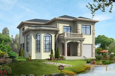 乡村带车库设计二层别墅设计方案,欧式风格