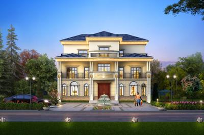 农村三层复式带露台别墅设计图,外观图清新亮