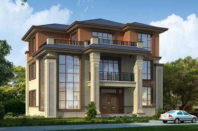 农村复式三层别墅户型设计图,新中式现代风格,外观好看