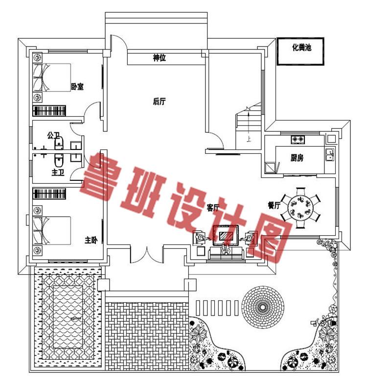 2019年新款四层别墅房屋设计一层户型图