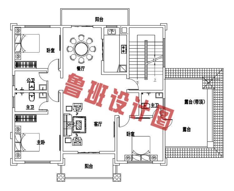 2019年新款四层别墅房屋设计二层户型图