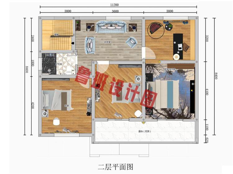 二层新中式小楼设计二层户型图