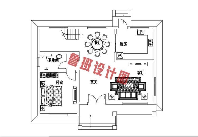 二层新中式小楼设计一层户型图