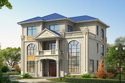 欧式三层带大露台自建别墅设计图,占地160平方米左右