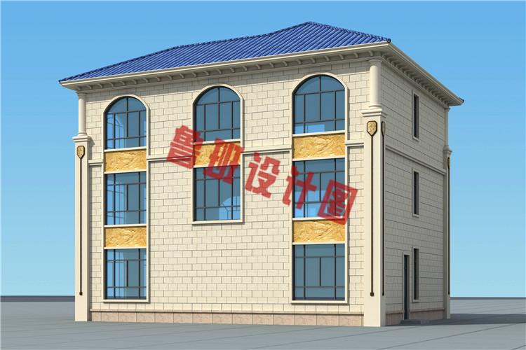 欧式三层带大露台自建别墅设计侧面图