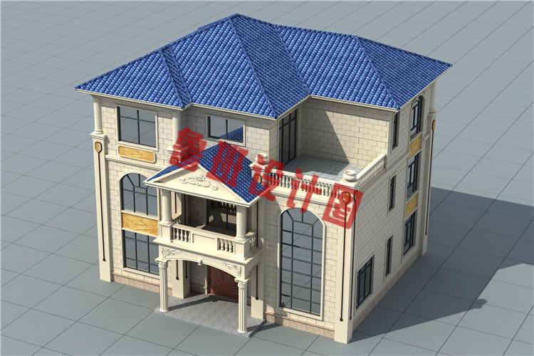 欧式三层带大露台自建别墅设计鸟瞰图