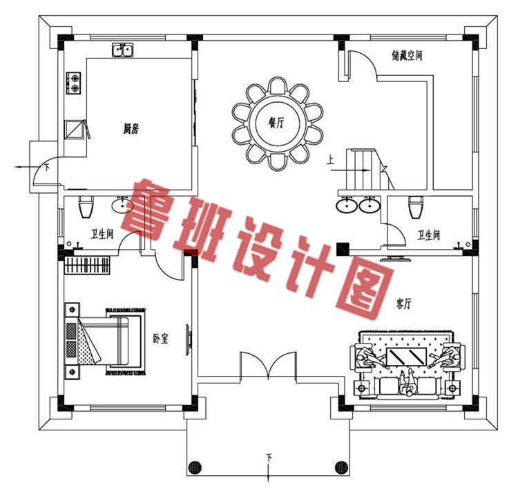 欧式三层带大露台自建别墅设计一层户型图