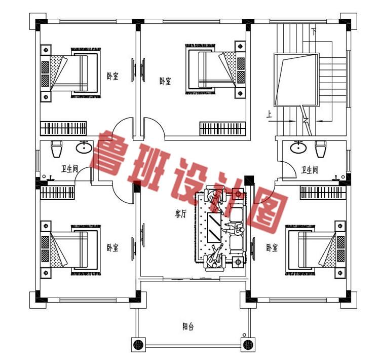 欧式三层带大露台自建别墅设计二层户型图