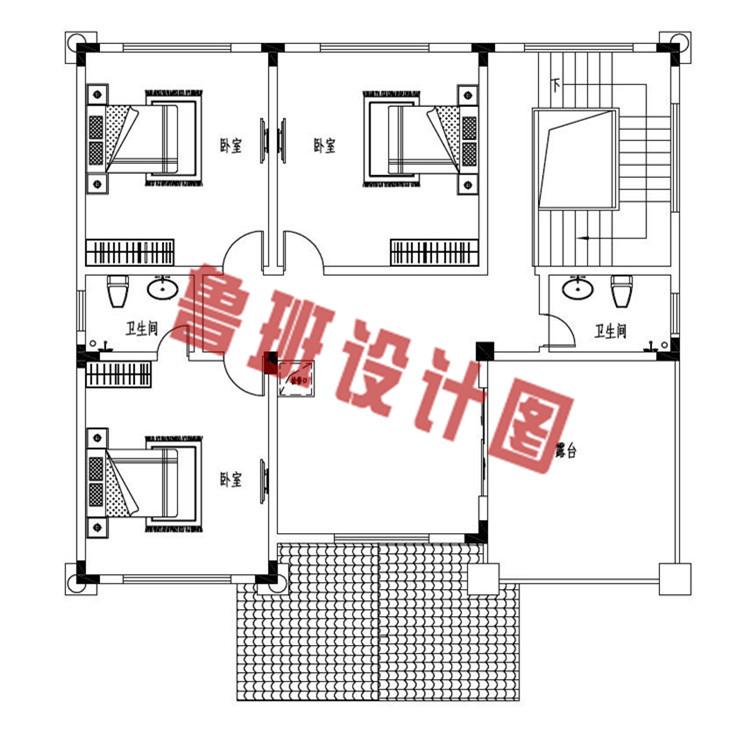 欧式三层带大露台自建别墅设计三层户型图
