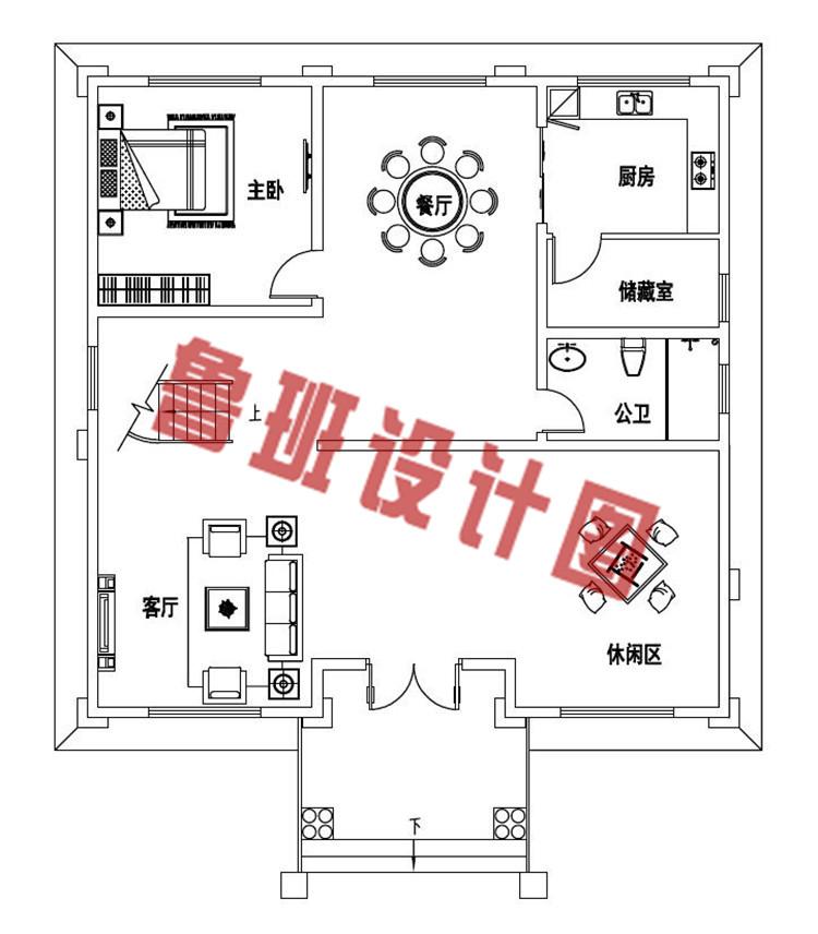 35万140平复式三层小楼设计一层户型图