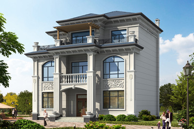 现代三层民房设计图,欧式外观设计,自建既洋