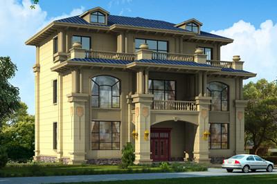 豪华大气三间三层楼房别墅设计图,主体造价40万