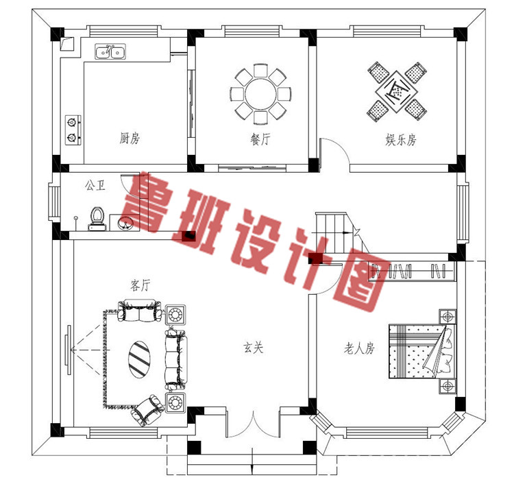 农村二层简单别墅设计一层户型图