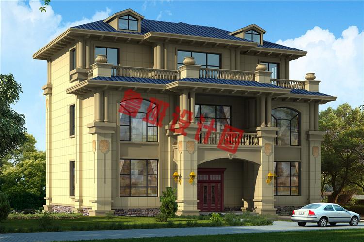 豪华大气三层欧式自建别墅设计效果图