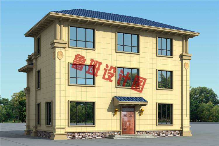 豪华大气三层欧式自建别墅设计侧面图