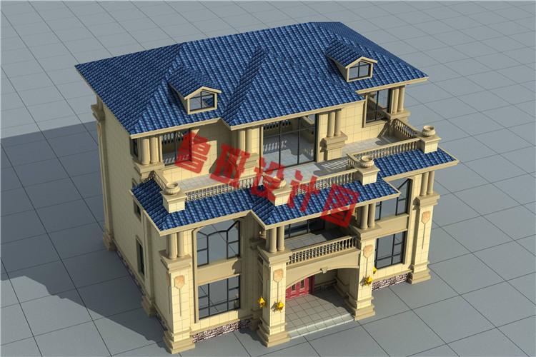豪华大气三层欧式自建别墅设计鸟瞰图