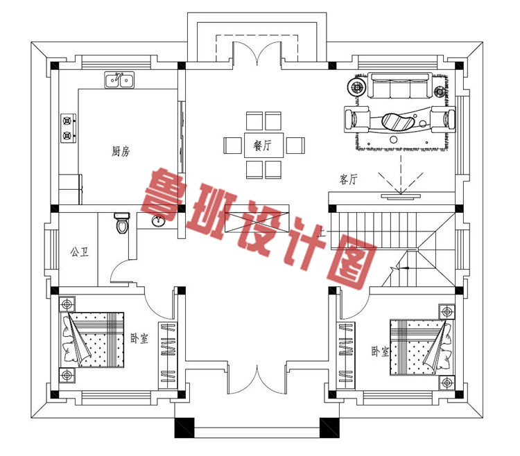 豪华大气三层欧式自建别墅设计一层户型图