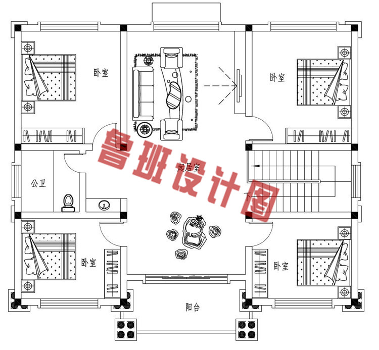 豪华大气三层欧式自建别墅设计二层户型图