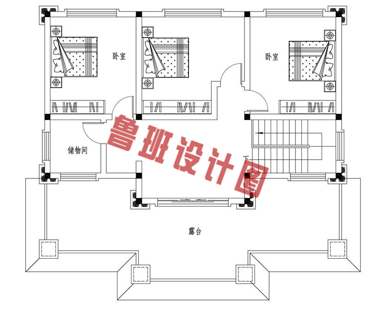豪华大气三层欧式自建别墅设计三层户型图