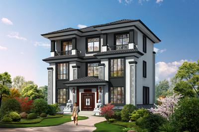 新中式三层民房别墅小楼设计图,外观低调大方,造型精美