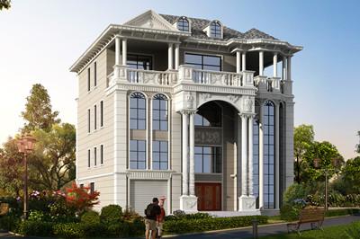 四层复式豪华欧式别墅设计图,带车库、阳光房的大户型方案
