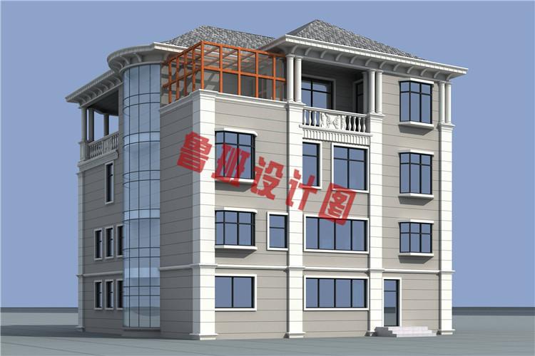 四层复式豪华欧式别墅设计侧面图
