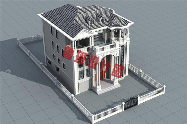 四层复式豪华欧式别墅设计鸟瞰图