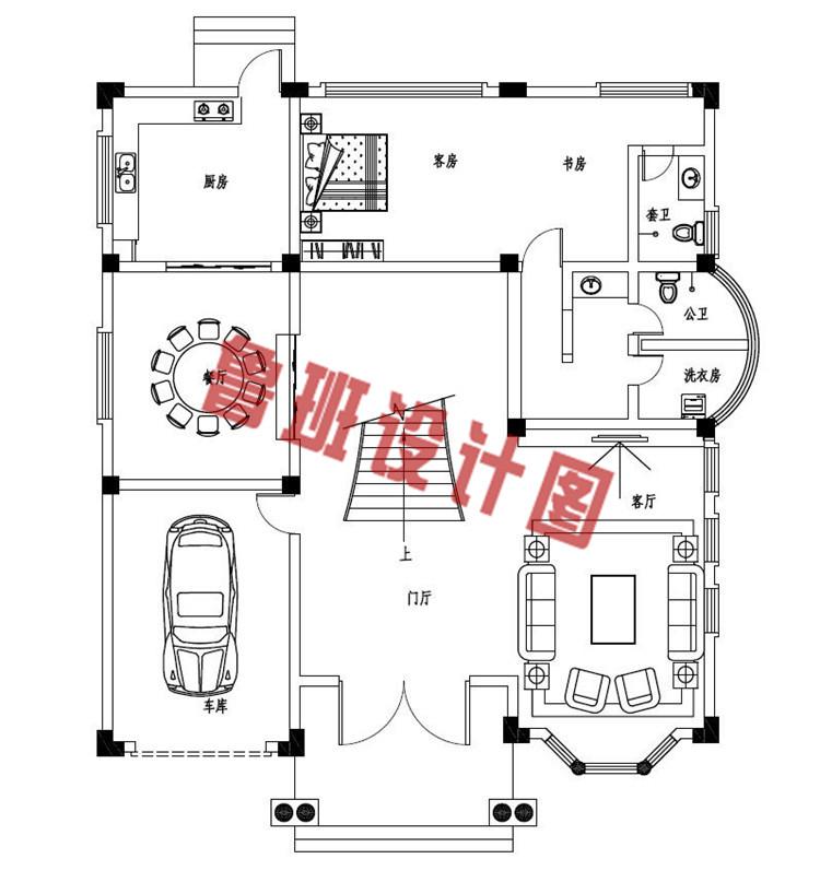 四层复式豪华欧式别墅设计一层户型图