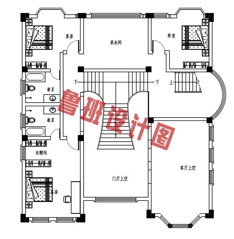 四层复式豪华欧式别墅设计二层户型图
