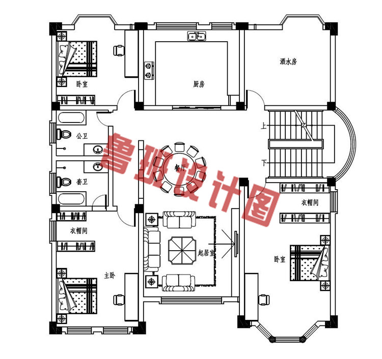 四层复式豪华欧式别墅设计三层户型图