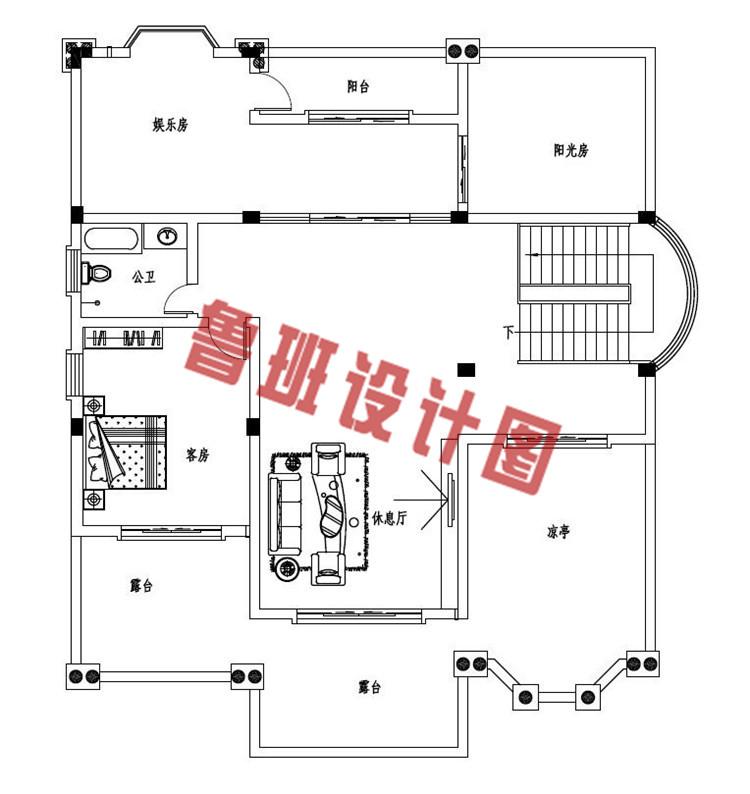 四层复式豪华欧式别墅设计四层户型图