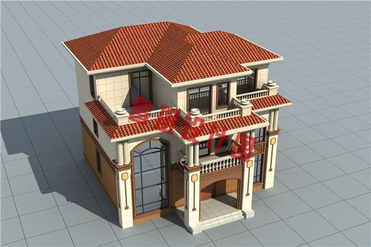 农村三层私人别墅设计鸟瞰图