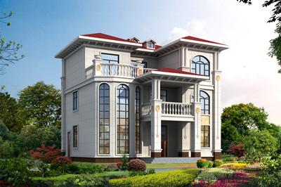 农村豪华三层欧式别墅设计图,12米×12米,外立面时尚亮眼