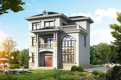 新农村自建三层楼房造价16万,简欧式外观图