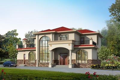 新款带土灶(独立厨房)二层欧式别墅设计图,