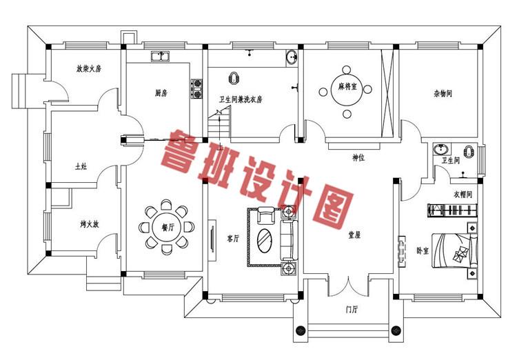 2019最新款二层欧式带烤火房别墅设计一层户型图