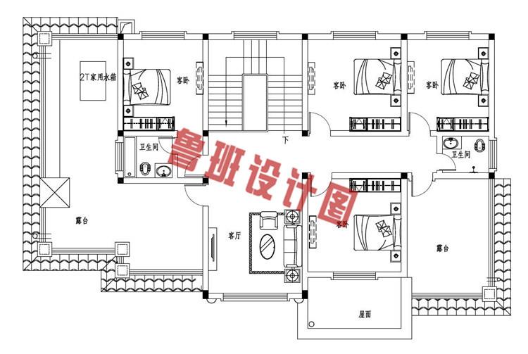 2019最新款二层欧式带烤火房别墅设计二层户型图