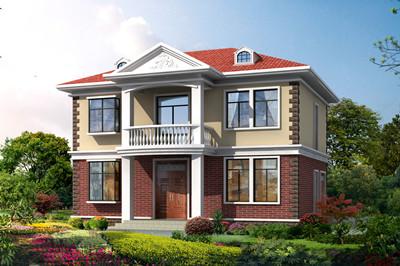 简约实用二层别墅自建房设计图,12米×9米,外观