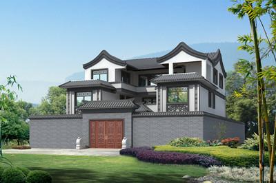 新农村三层中式四合院别墅设计图,外观造型简单大方