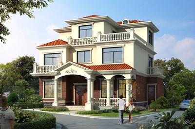 占地130平方米农村三层别墅楼房全套设计施工图效果图