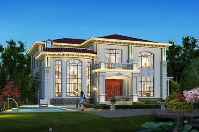大户型二层简欧自建房子别墅设计图,5室2厅带大露台