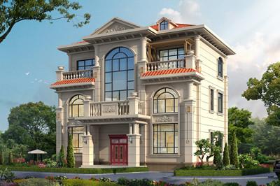 带电梯乡村轻奢简欧三层别墅设计图,自建房好户型,占地110平方米