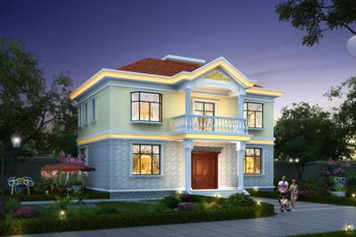 普通简约二层自建房别墅设计图,造型简单,20万元内