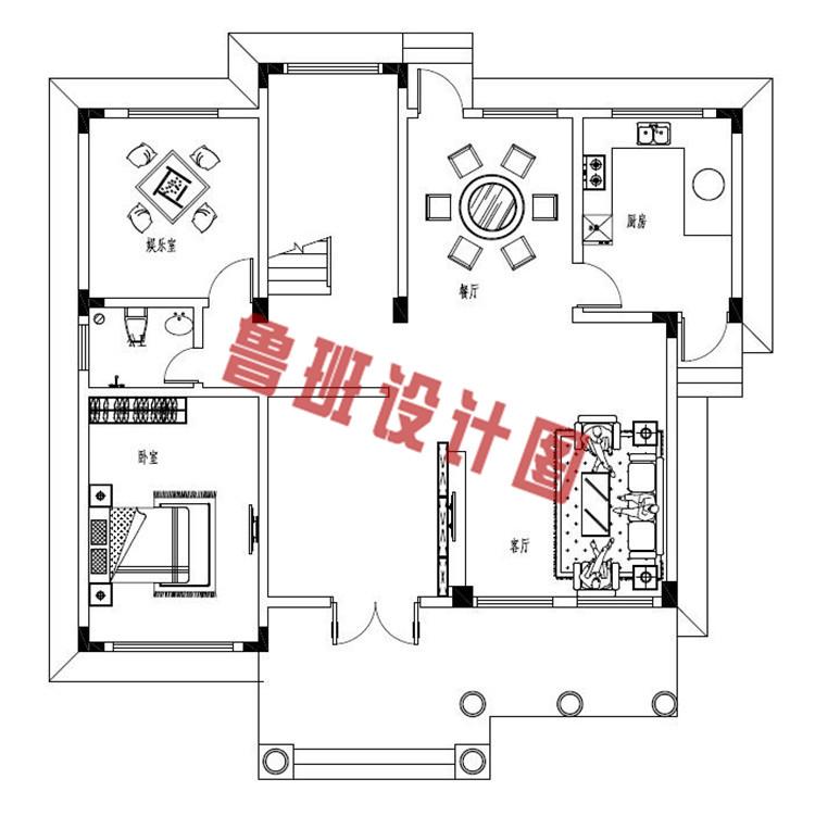 最新农村三层别墅全套设计一层户型图